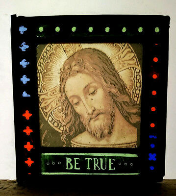 Stained Glass Jesus Christmas panel - Traditional kiln fired with inscription