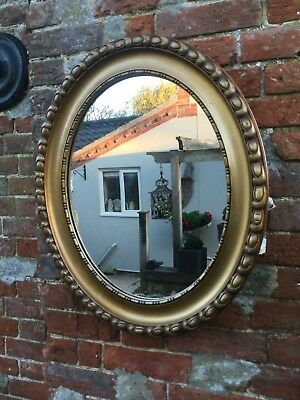 Antique Vintage Solid Wood Late Victorian Edwardian Gold Oval Wall Mirror
