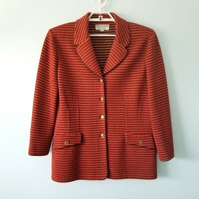 St. John Collection Womens 12 Knit Jacket Red Rust Brown Gold Enamel Buttons