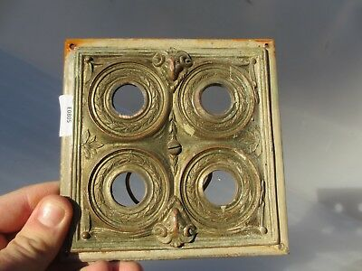 Antique Brass Quadruple Light Switch Plate Old Victorian Nickel Toggle Rams Head