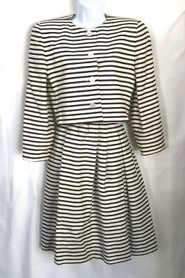 7080f71e2309 Gloria Sachs SZ 10 VTG Black + white stripe linen suit Estate of Alice  Brooks