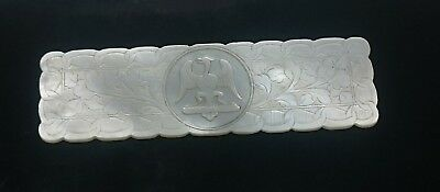 Antique Chinese Canton export mother of pearl gaming counter. Armorial Eagle