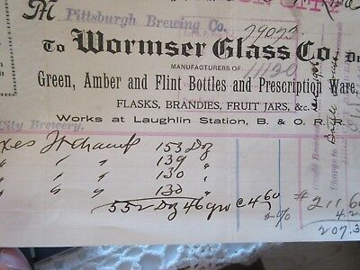 Wormser Glass Co Fruit Jars Preprohibition BillHead Sold to Pittsburgh Brewing