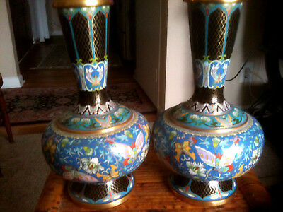 Pair Of Vintage Chinese Cloisonne Bottle Vases With Butterflies And Flowers