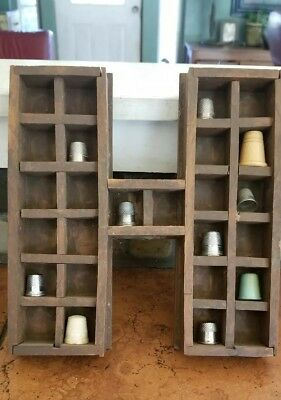 """10 pc Sewing Thimble collection & wood """"H"""" display 3 from Germany"""