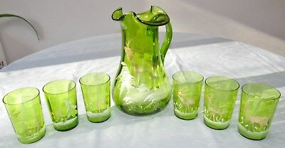 Mary Gregory Pitcher Tumbler Set Green Emameled Glass Gold Stag Deer Elk Antique