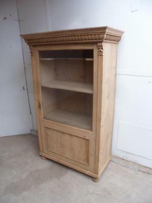 A Cracking Carved Victorian Antique/Old Pine 1 Door Display Cabinet to Wax/Paint
