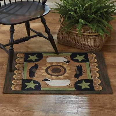 New Primitive Country Green Tan SHEEP CROW STAR Wool Hooked Rug Floor Mat