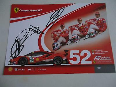 Carte Card AF Corse FERRARI  #52 signed all drivers 24 h Le Mans 2018 LM