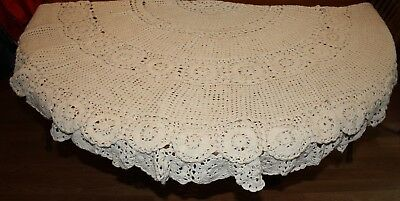 """Round Handmade Crochet Lace Tablecloth Beige Vintage Cotton Table 65"""""""