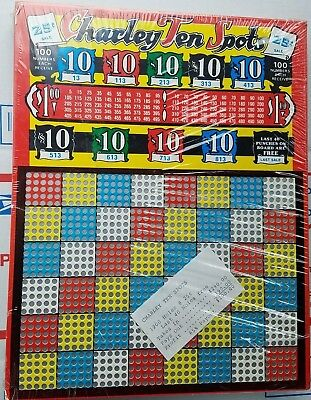 Charley Ten Spot 25 Cent Punch Board Gambling 1200 Hole Unused Old Store Stock