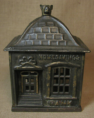 "Antique Cast Iron ""HOME SAVINGS BANK"" Still Bank, PAT. March 10th, 1891"