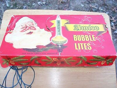 Vintage Amico Bubble Lites Clips Orig Box Working Antique Christmas Tree Lights