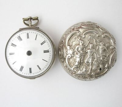 Repousse silver pair cased verge fusee pocket watch 1765 Brown London