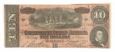 T-68 1864 Riding Horses Confederate CSA $10 Bill, Strong Red Ink
