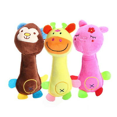 Pet Dog Cat Plush Chew Squeak Toy Sound Interactive Fox Shape Tooth Clean Toys