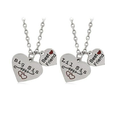 e496c81caf 2pc Big Little Sis Sister Necklace Matching 4 Heart Friendship Best Friend  BFF