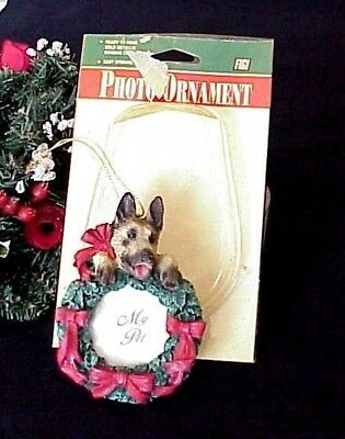 Vintage German Shepherd Christmas Photo Ornament Wreath Red Ribbon String Cord