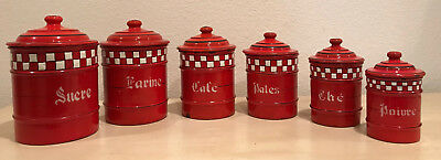 Rare Authentic Vintage French Enamel 6 Piece Canister Set ~ Red w/ White Checks