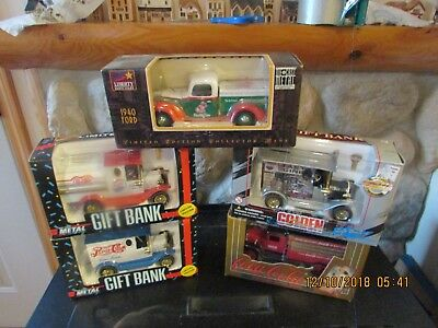 5 Coca Cola Pepsi and Mountion dew Die Cast Metal Bank Delivery Truck Collection