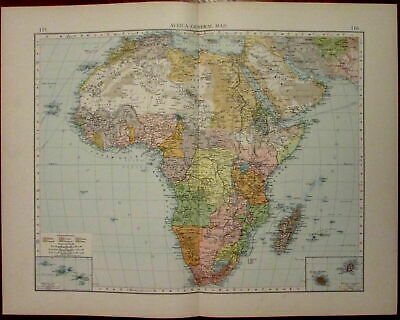 Map Of Africa French.Africa Continent Orange Free State Bechuana Land French Congo C 1900 Color Map