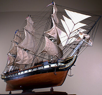 """USS CONSTELLATION 42"""" wood model ship large scaled American sailing boat"""