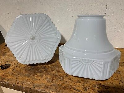 ANTIQUE Pair of Large Glass Art Deco Skyscraper Light Shades Globes FANTASTIC!