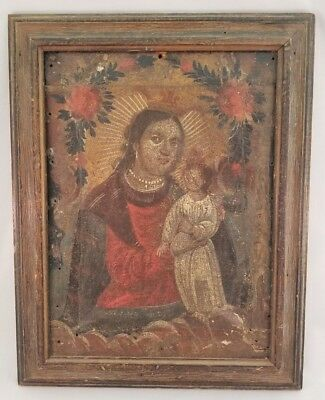 Very Old Religious Oil painting of Madonna