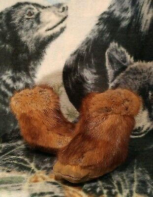 Vintage Handmade Canadian Fox Fur & Leather Childs Moccasin