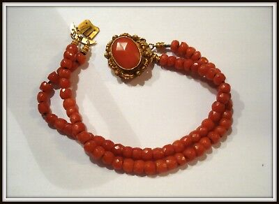 Ancien Bracelet 18 em Fermoir en or 18 carat et corail vintage necklace gold
