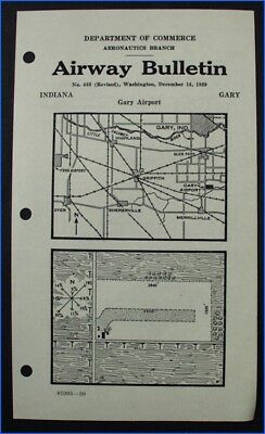 AIRWAY BULLETIN No. 460, GARY AIRPORT, GARY, INDIANA, 1929, DEPT. OF COMMERCE