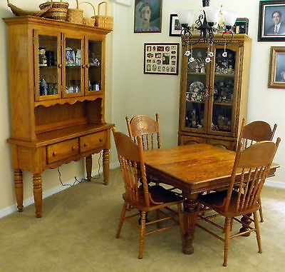 Antique  Square Solid Oak Dining Table 1900-1950; 4 Oak Chairs;China/Hutch