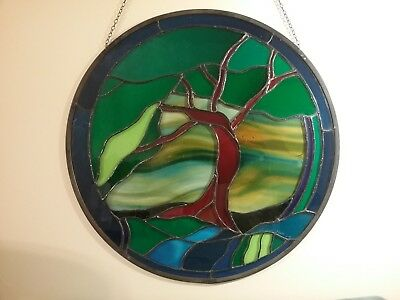 """STAINED GLASS Hanging Round Window Panel 21""""  TREE Signed"""