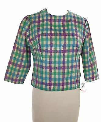60s Mod Check Plaid Top - Tailored Vintage Crop Waist in Blue Green & Purple