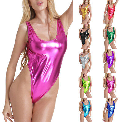 Sexy Women One-piece Shiny PVC Leather High Cut Leotard Bikini Bodysuit Swimsuit