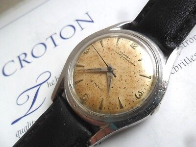 Vintage 1960's Men's Croton Nivada Grenchen Aquamatic Swiss Automatic Watch