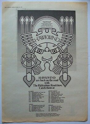 HAWKWIND 1973 original POSTER ADVERT UK CONCERT TOUR the ridiculous roadshow