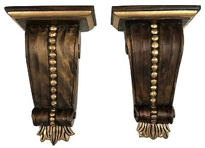 Pair Antique French Italian Gilded Wood Baroque Brackets Shelves Sconces Corbels
