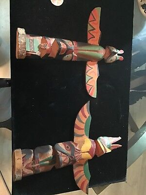Antique Native American  Vancouver Island Carved & Painted Wood Totem Pole