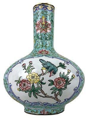 Antique Late Qing Chinese Export Famille Verte Long Neck Cloisonne Bottle Vase