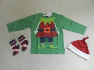 BNWT Next Baby Boys Green Christmas Dad's Elf T-Shirt Top socks Hat 12-18 Months