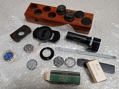 Carl Zeiss microscope parts, wooden box, eye peices, lenes, parts, bulbs