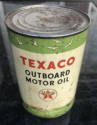 Vintage Texaco Outboard Motor Oil Tin Advertising One Quart Empty Can