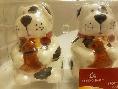 Spotted Dog Salt And Pepper Shakers Christmas NIB