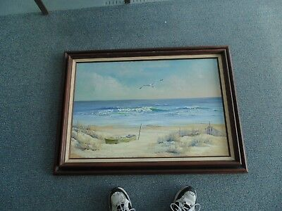 NICE VINTAGE SEASCAPE OCEAN LAND CAPE  OIL PAINTING signed Chasten Midyear