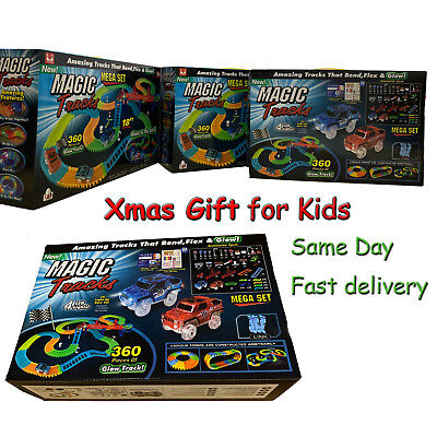 Magic Tracks 18 ft 360 Pcs Mega Set Toys 2 LED Cars Xmas Gift for Kids US
