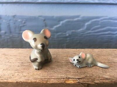 Vintage Gray Mama Mouse & Baby Ceramic Figurine Made in the USA by Hagen-Renaker