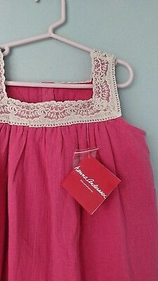 Hanna Andersson Girls Pink Cotton Gauze Lace Trim Dress size 130 8-10 NEW NWT