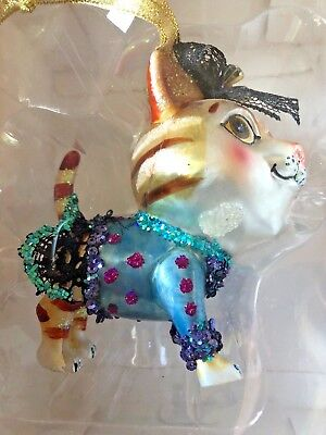 New in Box NIB CIAO CIAO Kitty Cat Glass Glass Christmas Ornament Blue Dress Bow