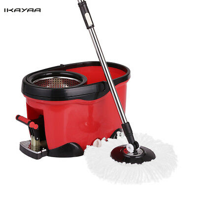 Hands-free Stainless Steel 360°Rolling Spin Mop & Bucket Set Foot Pedal A5K3